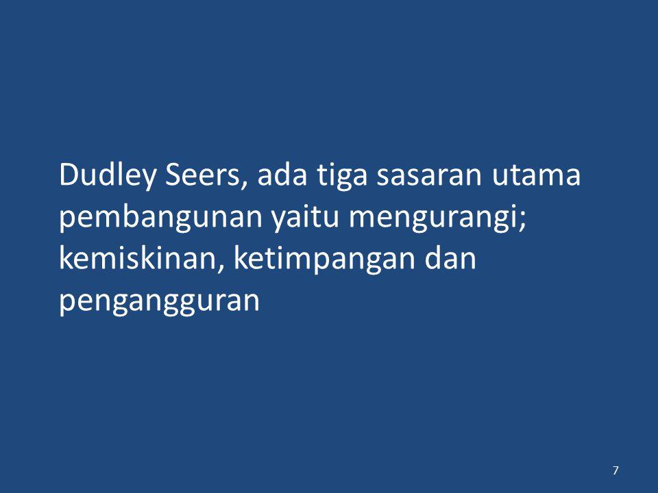 Dudley Seers, ada tiga sasaran utama pembangunan yaitu mengurangi; kemiskinan, ketimpangan dan pengangguran