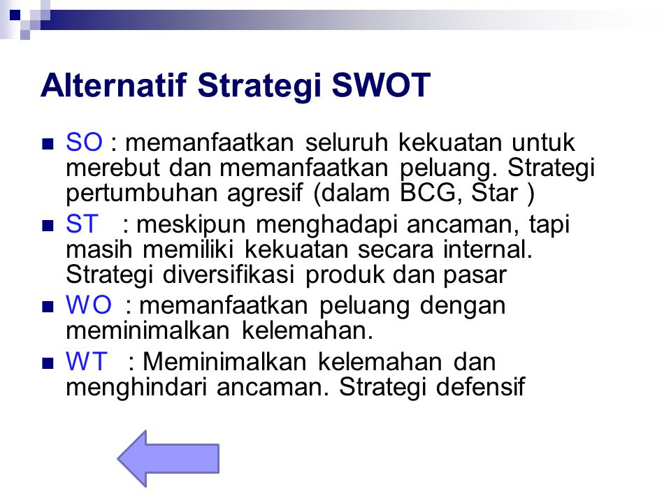 Alternatif Strategi SWOT
