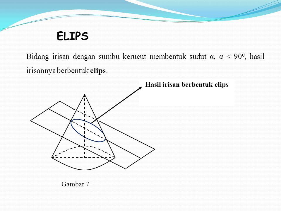 Hasil irisan berbentuk elips