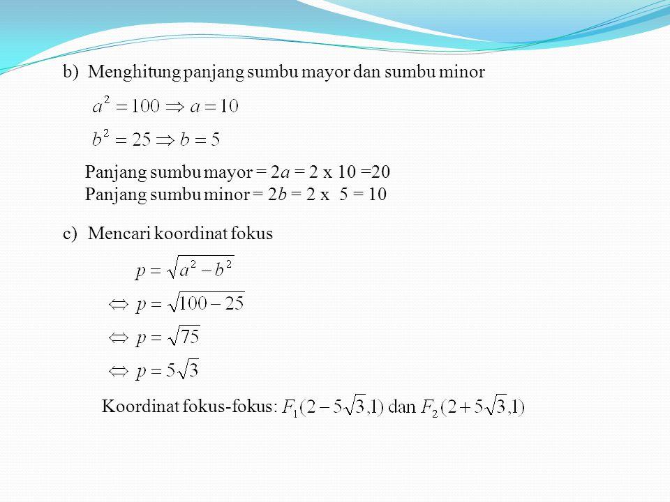 Menghitung panjang sumbu mayor dan sumbu minor