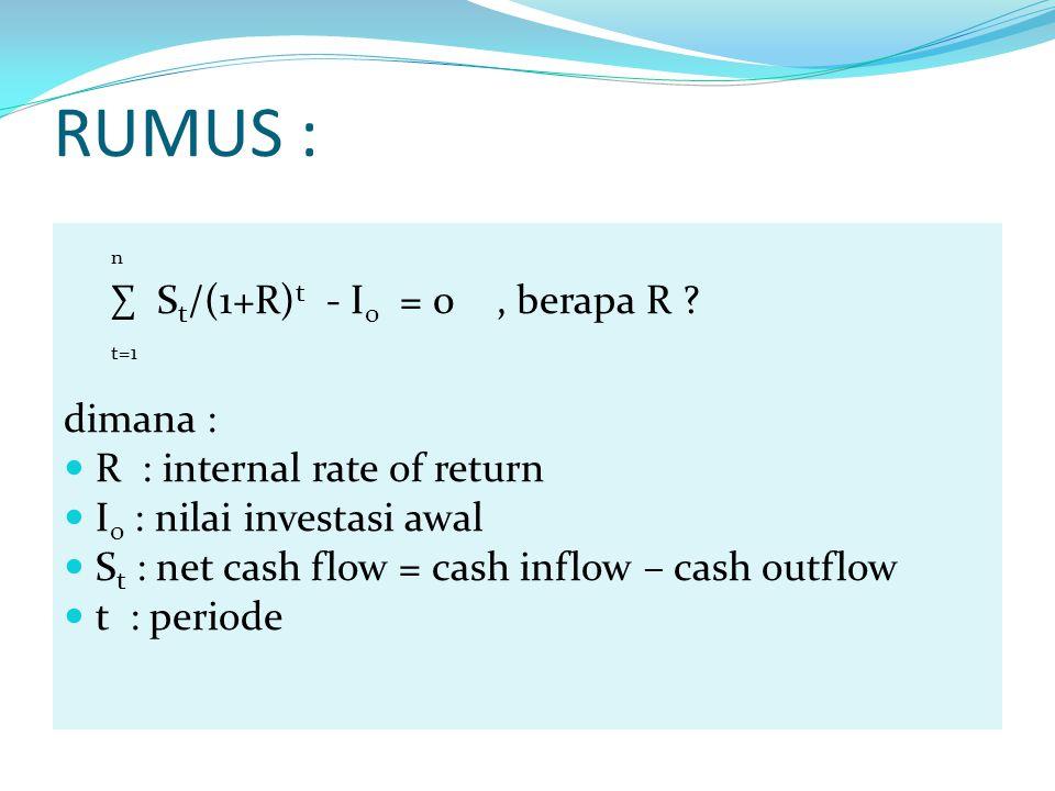 RUMUS : dimana : R : internal rate of return I0 : nilai investasi awal