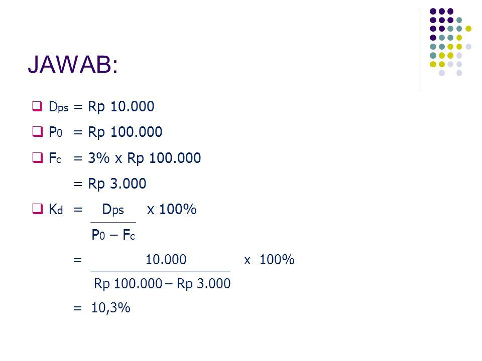 JAWAB: P0 = Rp 100.000 Fc = 3% x Rp 100.000 = Rp 3.000 Kd = Dps x 100%