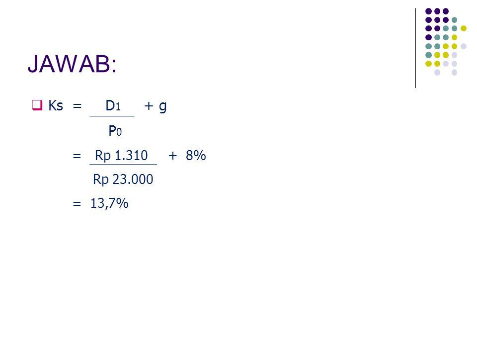JAWAB: Ks = D1 + g P0 = Rp 1.310 + 8% Rp 23.000 = 13,7%