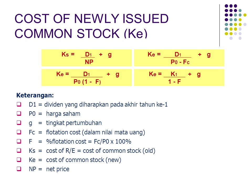 COST OF NEWLY ISSUED COMMON STOCK (Ke)