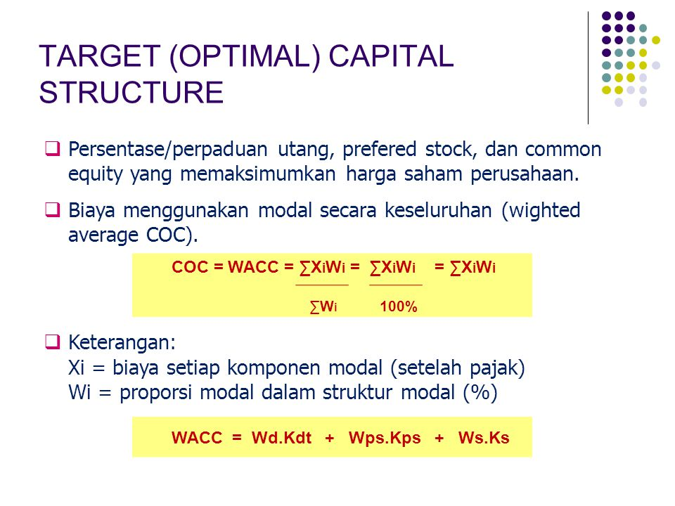 TARGET (OPTIMAL) CAPITAL STRUCTURE