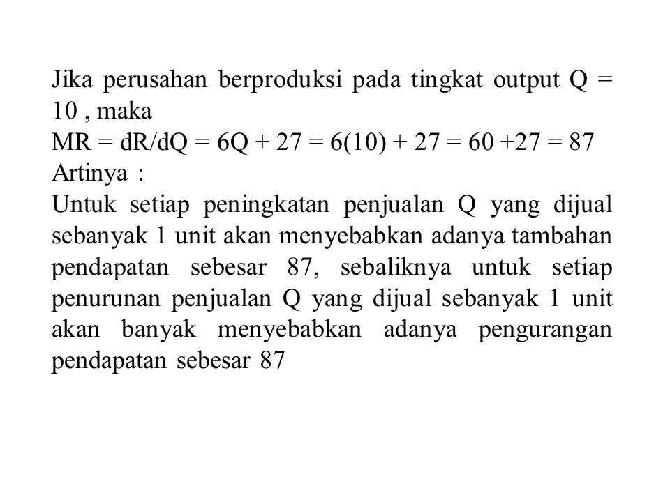 Jika perusahan berproduksi pada tingkat output Q = 10 , maka