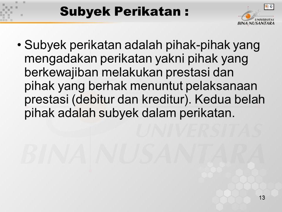 Subyek Perikatan :