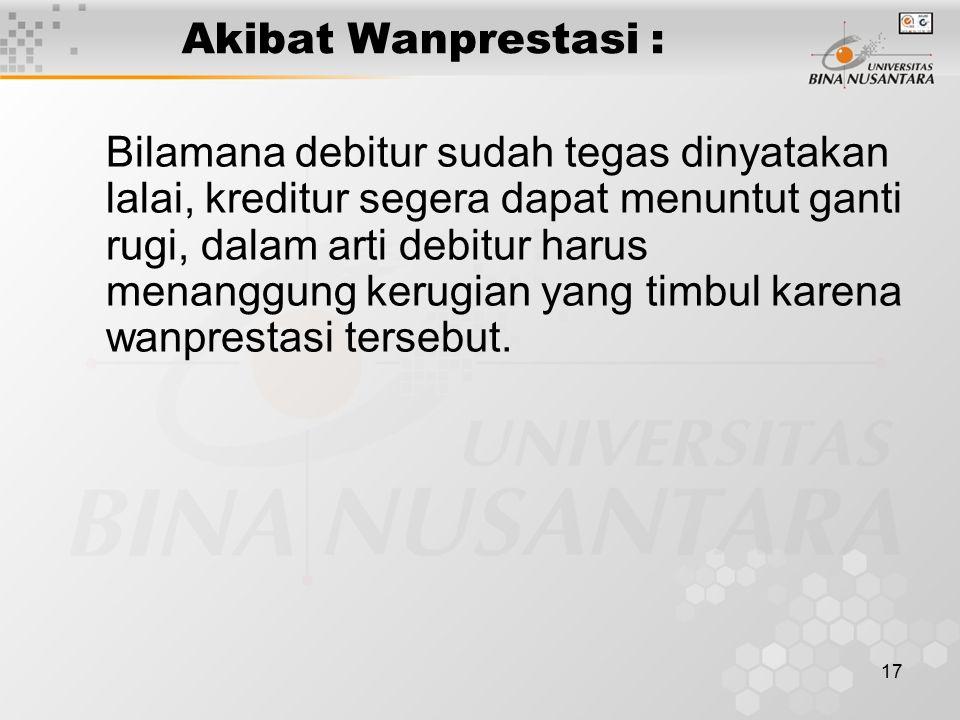 Akibat Wanprestasi :