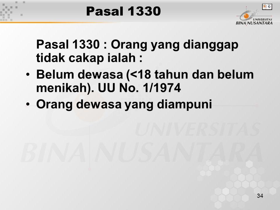 Pasal 1330 Pasal 1330 : Orang yang dianggap tidak cakap ialah : Belum dewasa (<18 tahun dan belum menikah). UU No. 1/1974.