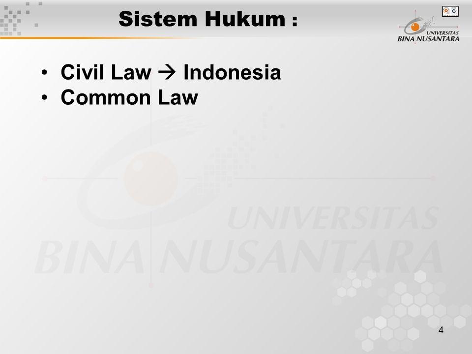 Sistem Hukum : Civil Law  Indonesia Common Law