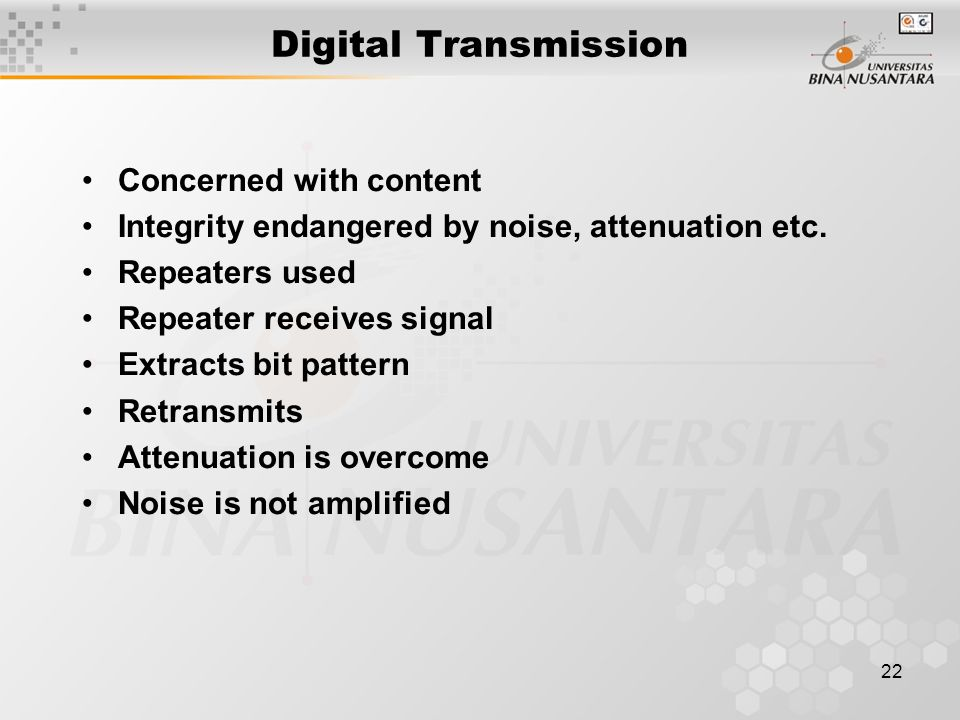 Digital Transmission Concerned with content