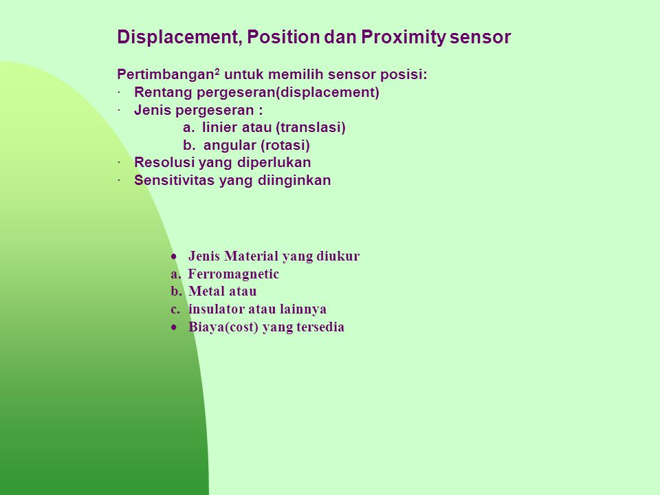 Displacement, Position dan Proximity sensor