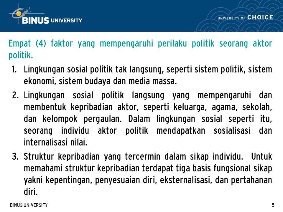 Empat (4) faktor yang mempengaruhi perilaku politik seorang aktor politik.