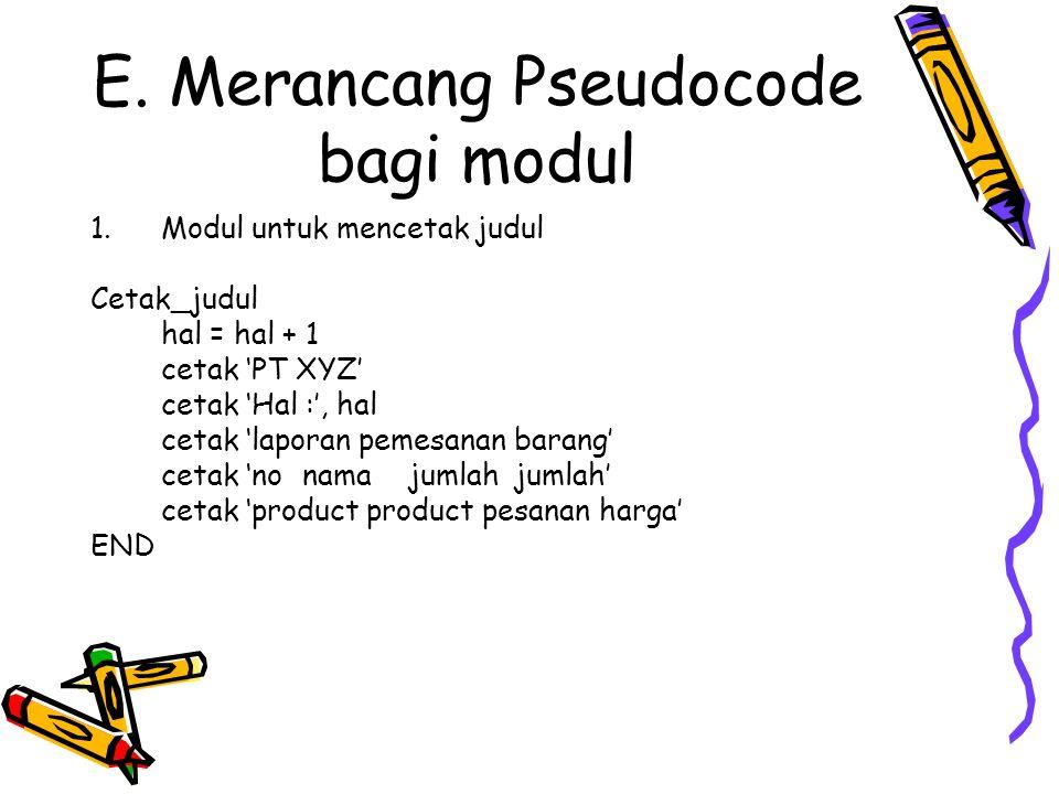 E. Merancang Pseudocode bagi modul
