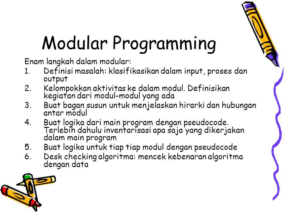 Modular Programming Enam langkah dalam modular: