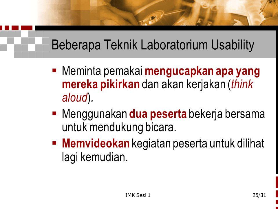 Beberapa Teknik Laboratorium Usability