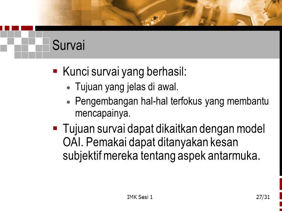 Survai Kunci survai yang berhasil: