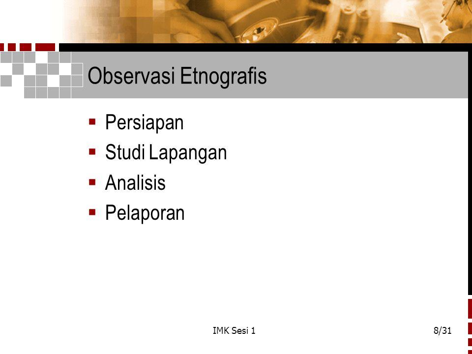 Observasi Etnografis Persiapan Studi Lapangan Analisis Pelaporan