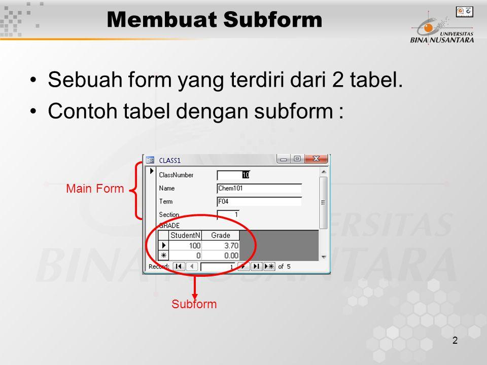 Sebuah form yang terdiri dari 2 tabel. Contoh tabel dengan subform :