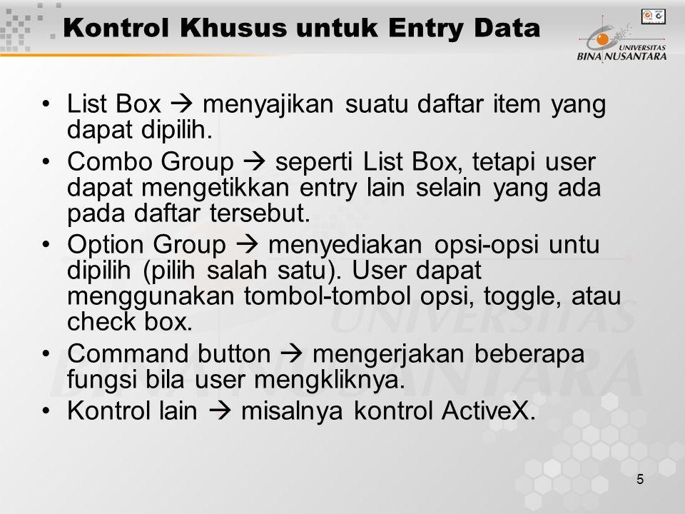 Kontrol Khusus untuk Entry Data