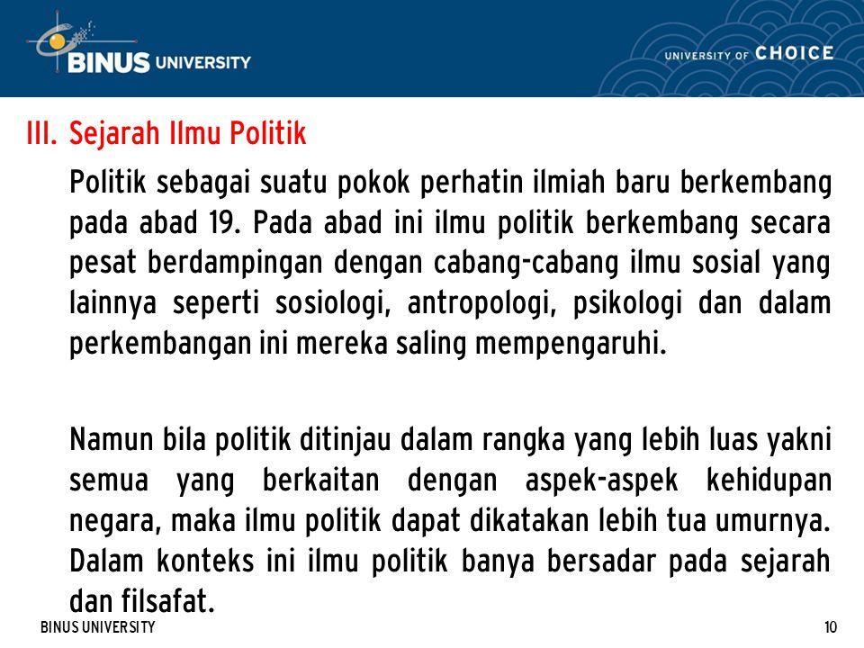 Sejarah Ilmu Politik