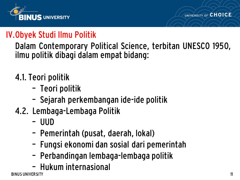 Obyek Studi Ilmu Politik