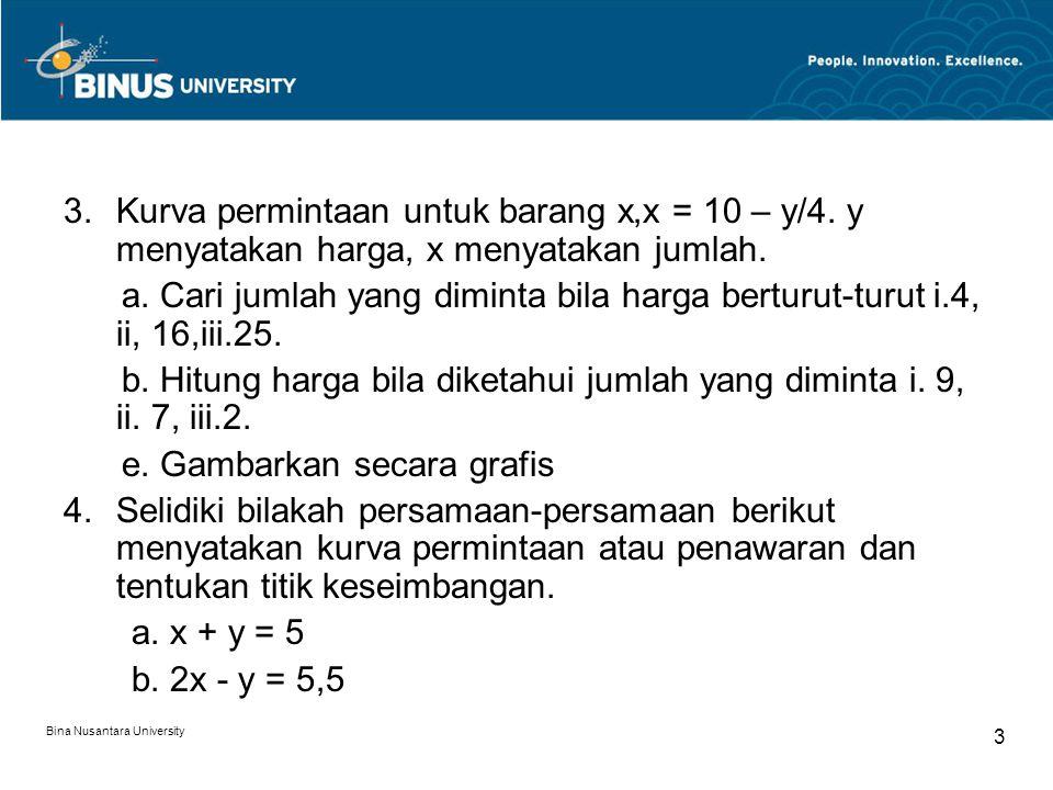 b. Hitung harga bila diketahui jumlah yang diminta i. 9, ii. 7, iii.2.