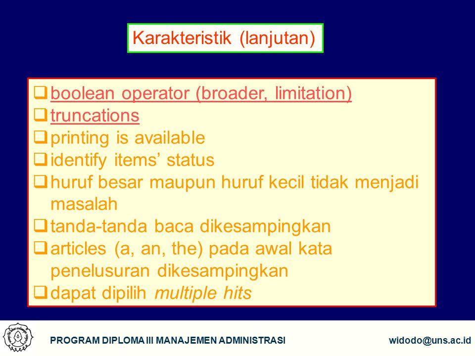 Karakteristik (lanjutan)