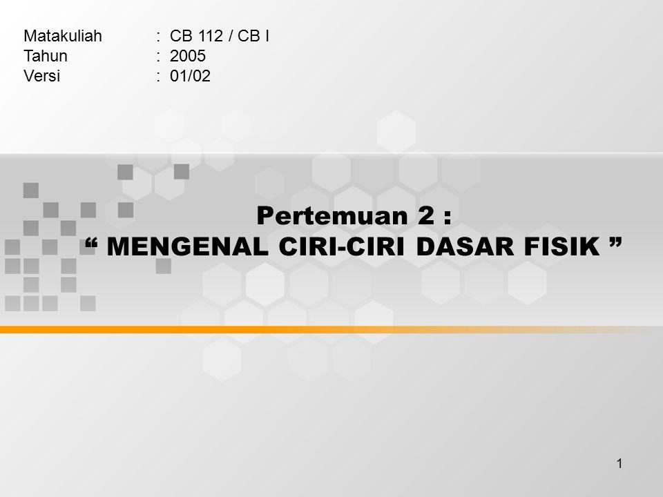 Pertemuan 2 : MENGENAL CIRI-CIRI DASAR FISIK
