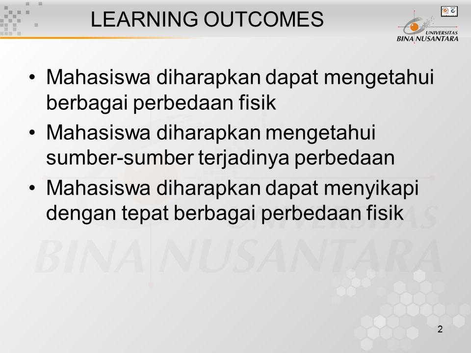 LEARNING OUTCOMES Mahasiswa diharapkan dapat mengetahui berbagai perbedaan fisik. Mahasiswa diharapkan mengetahui sumber-sumber terjadinya perbedaan.