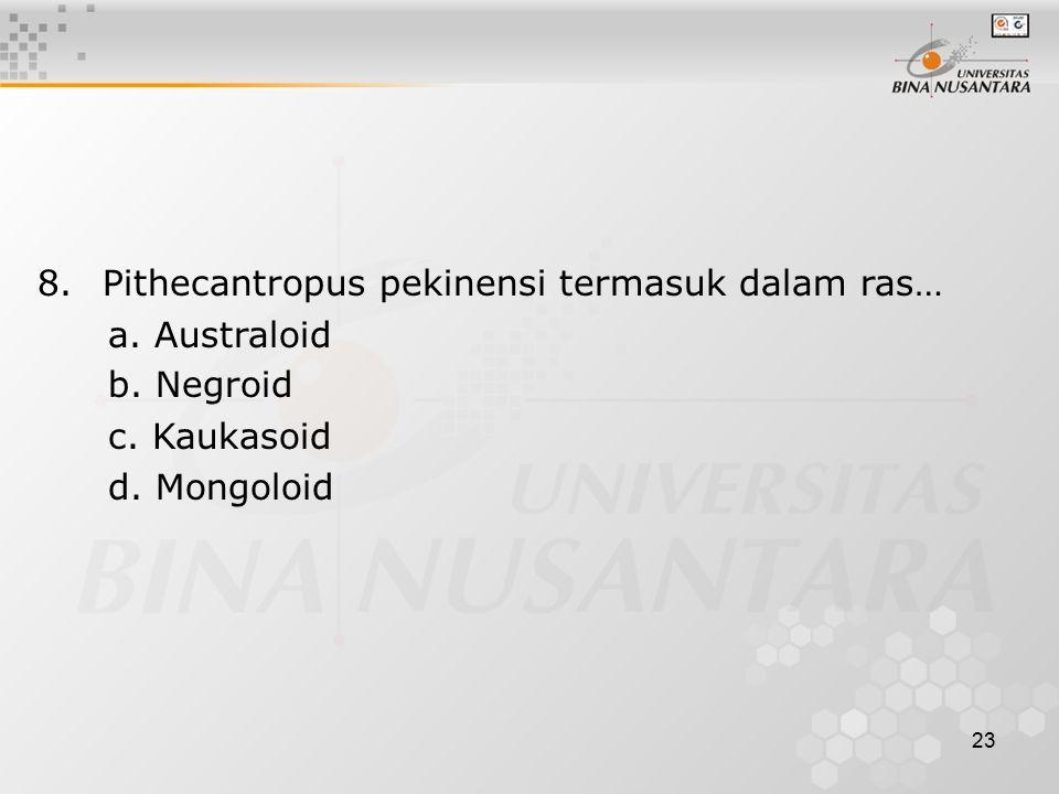 8. Pithecantropus pekinensi termasuk dalam ras…