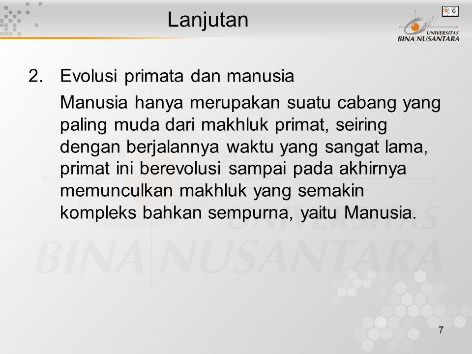 Lanjutan Evolusi primata dan manusia
