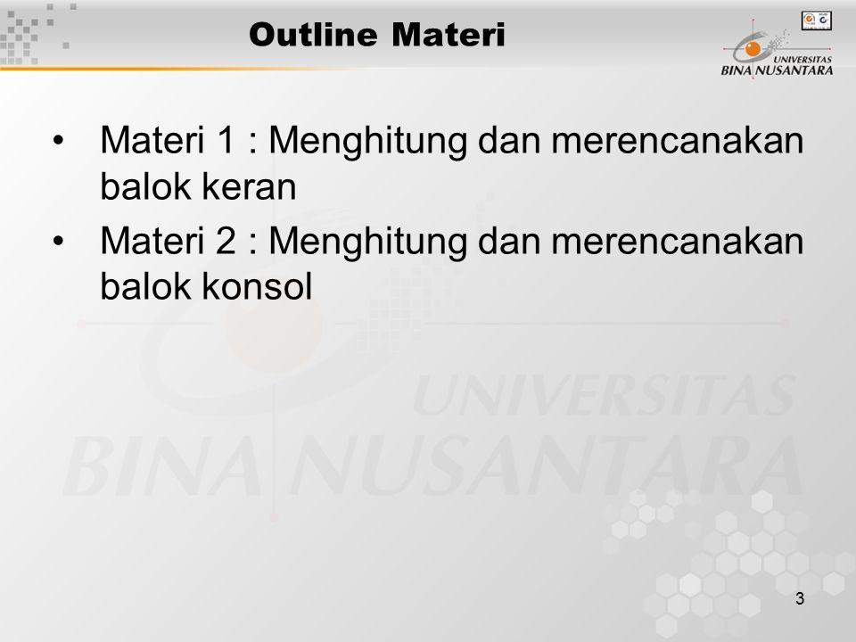 Materi 1 : Menghitung dan merencanakan balok keran