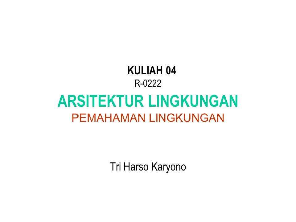 KULIAH 04 R-0222 ARSITEKTUR LINGKUNGAN PEMAHAMAN LINGKUNGAN