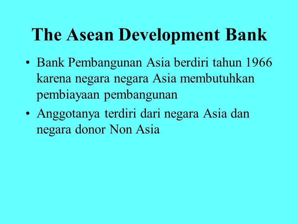 The Asean Development Bank