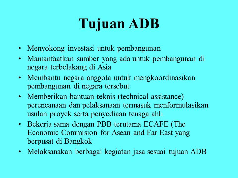 Tujuan ADB Menyokong investasi untuk pembangunan