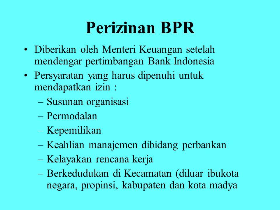 Perizinan BPR Diberikan oleh Menteri Keuangan setelah mendengar pertimbangan Bank Indonesia.