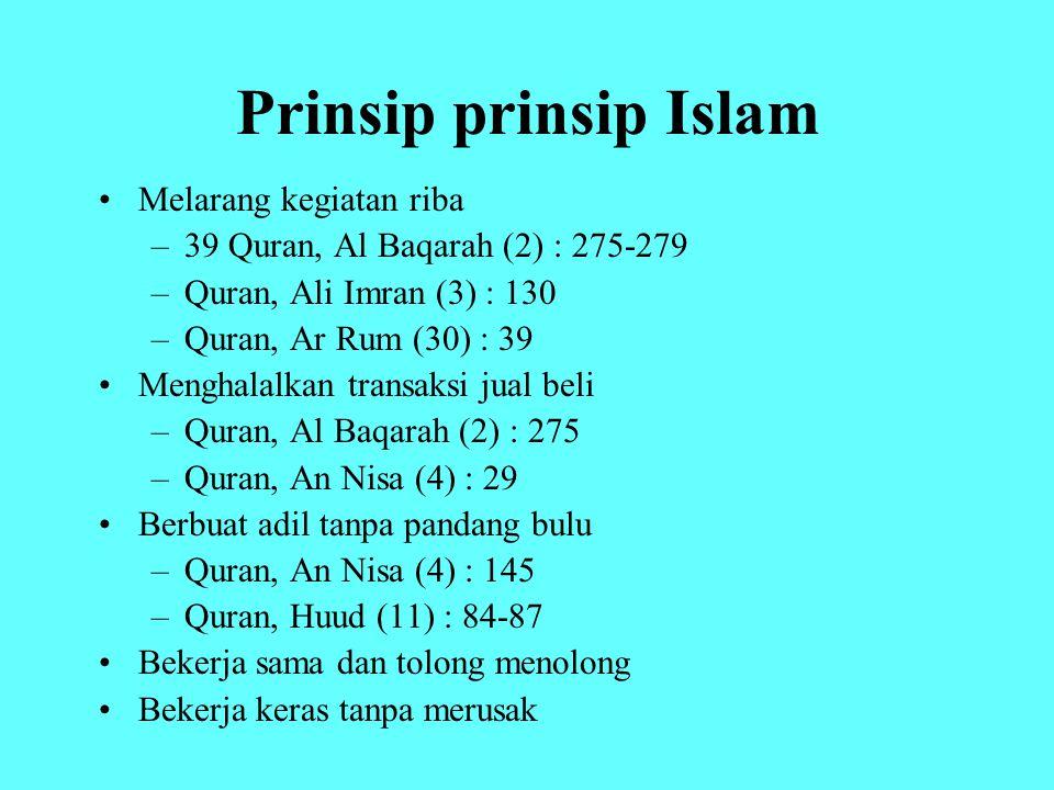 Prinsip prinsip Islam Melarang kegiatan riba
