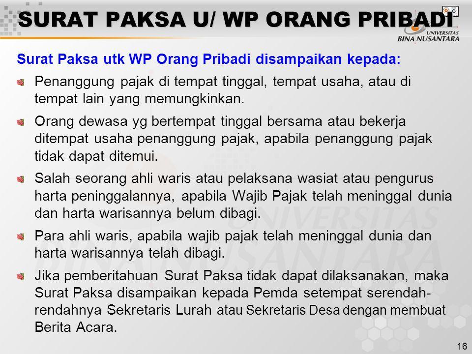 SURAT PAKSA U/ WP ORANG PRIBADI
