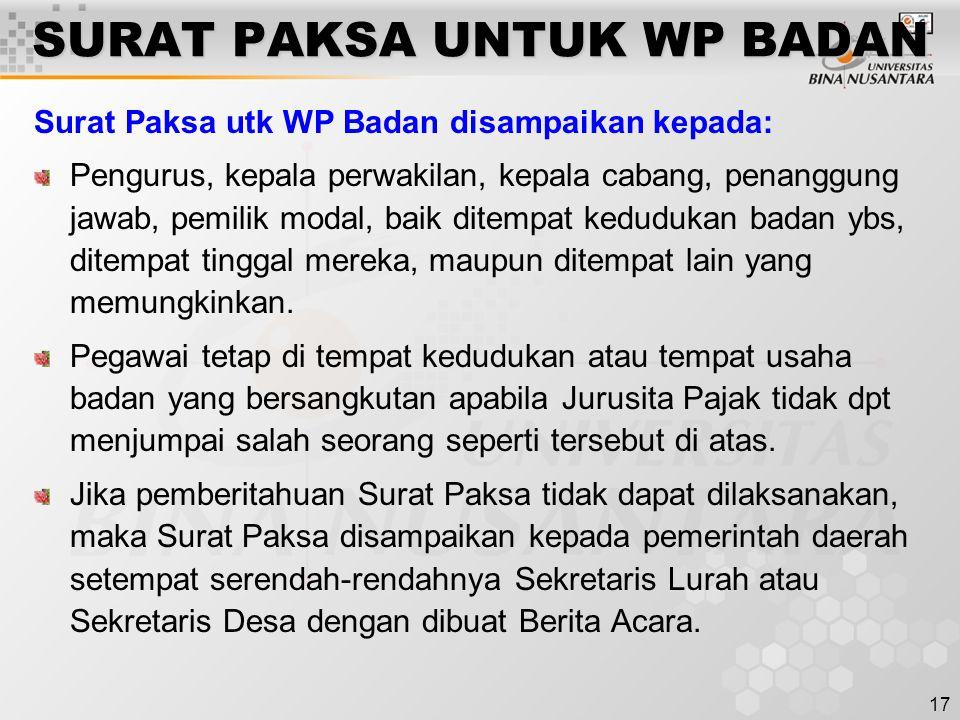 SURAT PAKSA UNTUK WP BADAN