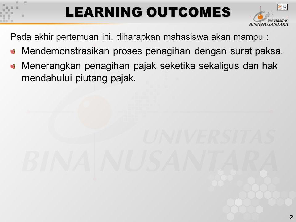 LEARNING OUTCOMES Pada akhir pertemuan ini, diharapkan mahasiswa akan mampu : Mendemonstrasikan proses penagihan dengan surat paksa.