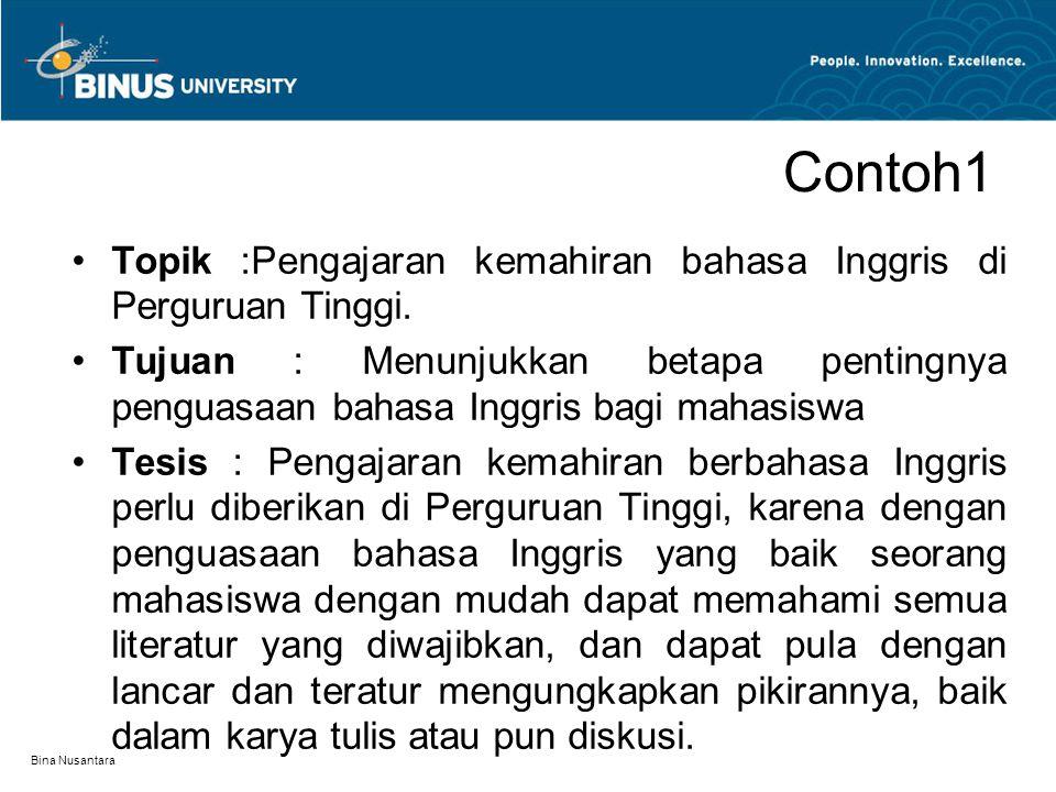 Contoh1 Topik :Pengajaran kemahiran bahasa Inggris di Perguruan Tinggi.