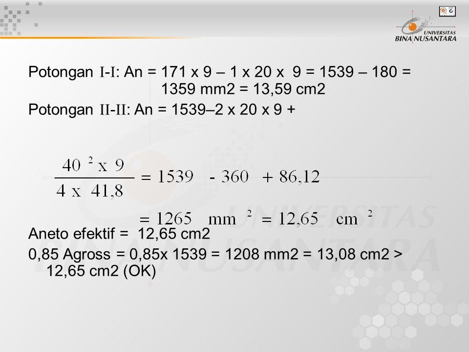 Potongan -: An = 171 x 9 – 1 x 20 x 9 = 1539 – 180 =
