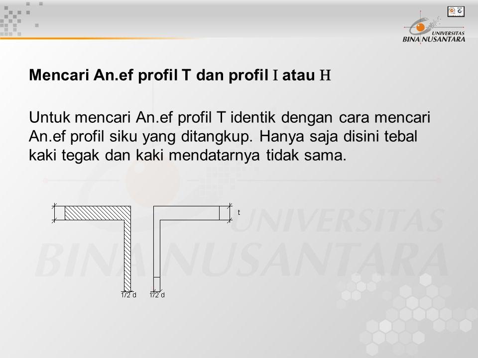 Mencari An.ef profil T dan profil  atau 