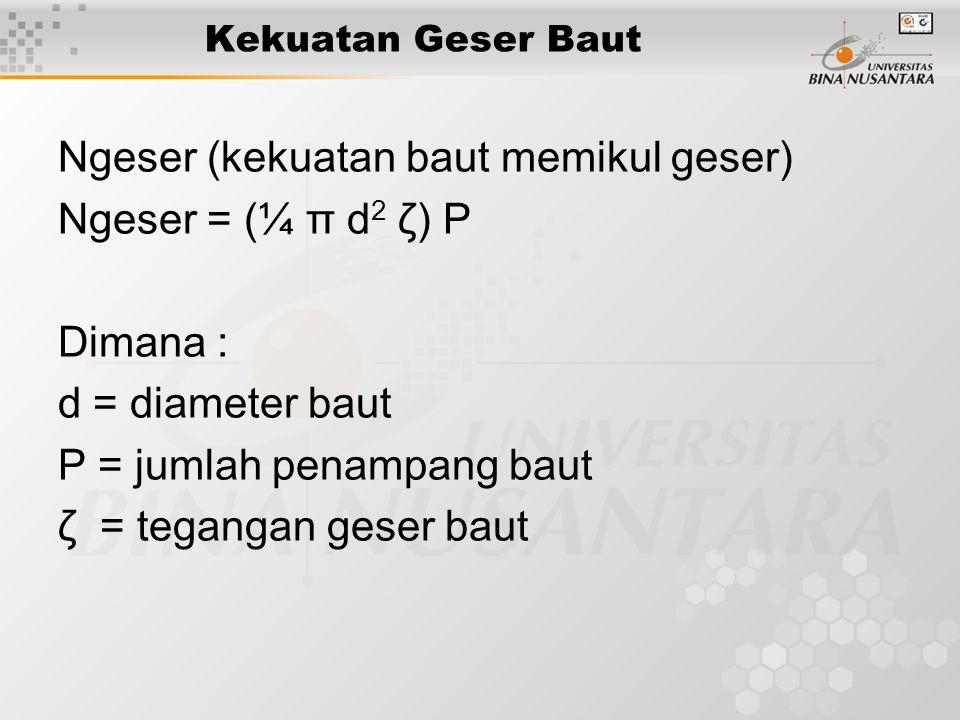 Ngeser (kekuatan baut memikul geser) Ngeser = (¼ π d2 ζ) P Dimana :