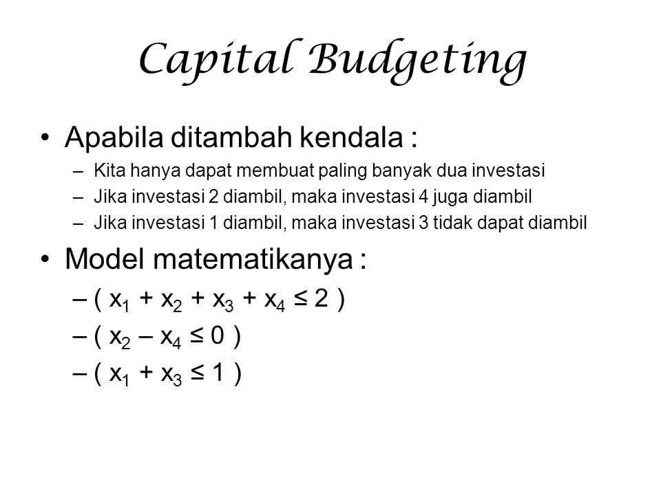 Capital Budgeting Apabila ditambah kendala : Model matematikanya :