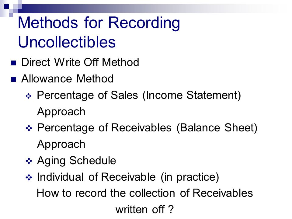 Methods for Recording Uncollectibles