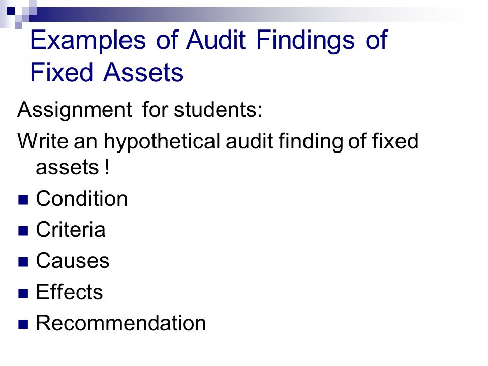 Examples of Audit Findings of Fixed Assets