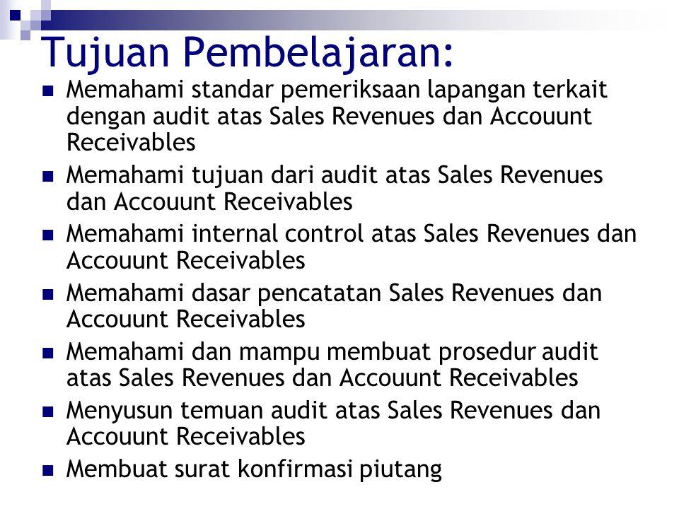 Tujuan Pembelajaran: Memahami standar pemeriksaan lapangan terkait dengan audit atas Sales Revenues dan Accouunt Receivables.