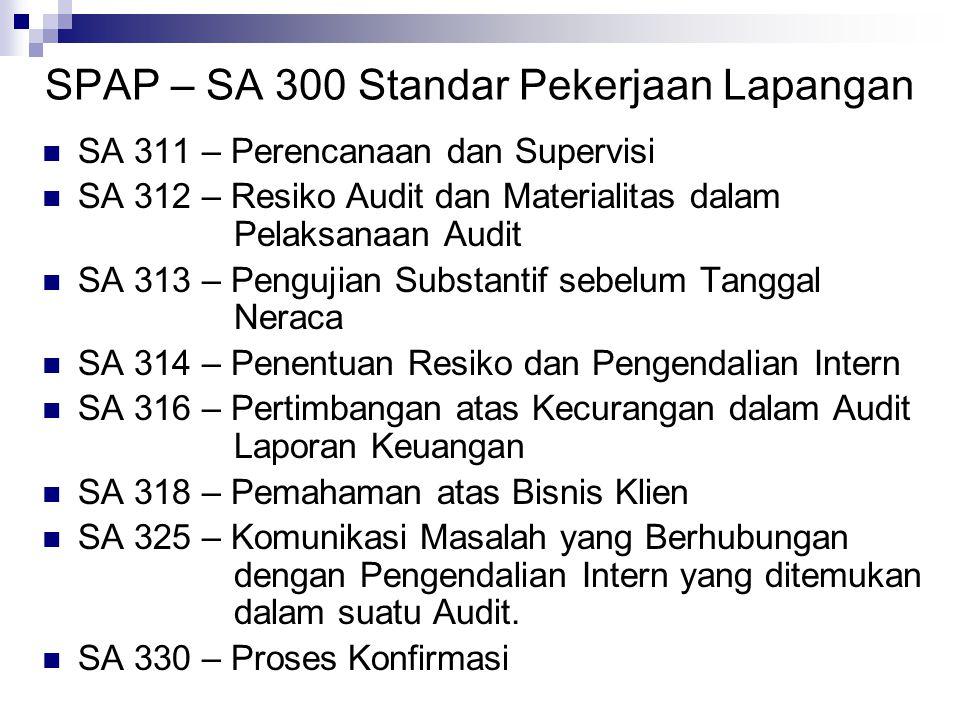 SPAP – SA 300 Standar Pekerjaan Lapangan
